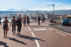 Promenad Cotiere i Nice, Frankrike Arkivbilder