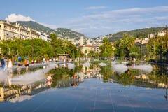 Promenad du Paillon i Nice, Frankrike royaltyfria foton