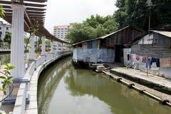 Promenad för Malacca stadsflodstrand, Malaysia. Arkivfoton
