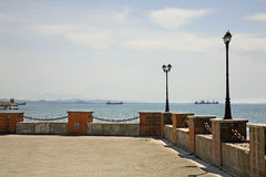 Promenad i Durres adriatic hav albacoren royaltyfri fotografi