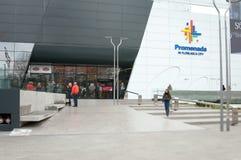 Promenada mall front entrance. View of promenada mall bucharest Stock Photography