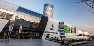 Promenada Mall near Aurel Vlaicu in Bucharest. A sunset panorama with the Promenada Mall near Aurel Vlaicu station in Bucharest, Romania Stock Photo