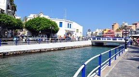 Promenada w Agios Nikolaos, Crete, Grecja, Europa Zdjęcie Stock