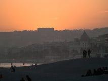 PromenadAnglais solnedgång Royaltyfri Bild