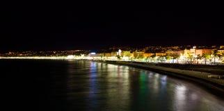 Promenaddes Anglais på natten, franska Riviera Royaltyfri Bild