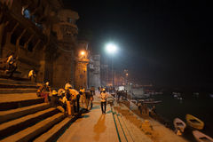 Promenade. Ghats at the holy river of Ganga in Varanasi, Uttar Pradesh, India Stock Image