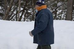 Promenade aînée sur une tempête de neige Images stock