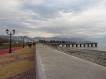 Promenade in Adler. Promenade in the afternoon in winter Stock Image