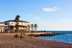 Promenade along the beach in Portixol. Palma, Majorca. Spain Stock Photos