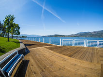 Promenade along the Okanagan Lake waterfront in Kelowna, BC stock photos