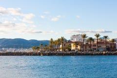 Promenade along Portixol marina. Palma, Majorca, Spain. PALMA, SPAIN - DECEMBER 6, 2017: Promenade along Portixol marina in Palma, Majorca, Spain Royalty Free Stock Image