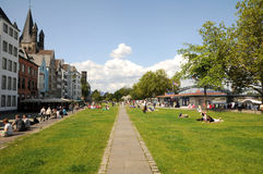 Promenade along the Rhine Stock Images
