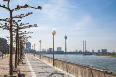 Promenade along river Rhine in Dusseldorf Royalty Free Stock Photo