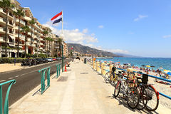 Promenade along the sea. Menton, France. Stock Images
