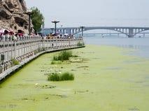 Promenade along Yi river at Longmen Grottoes Royalty Free Stock Image