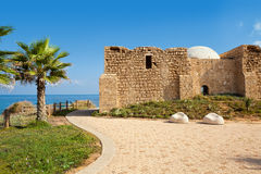 Promenade and ancient tomb in Ashqelon, Israel. Promenade along Mediterranean sea coast with palms and ancient tomb of unknown shah in Ashkelon, Israel Royalty Free Stock Photos