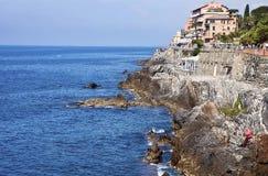 'promenade' Anita Garibaldi de Génova-Nervi - mar Foto de archivo libre de regalías