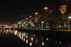 Promenade in Barcelona at night Stock Images