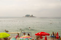 Beach of Petrovac and the island of Holy Week in Montenegro Stock Photo