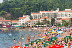 Promenade and beach of Petrovac in Montenegro royalty free stock image