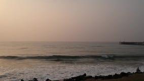 Promenade Beach, Rock Pondicherry Beach, in Pondicherry, Tamil Nadu, India stock video footage