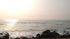 Promenade Beach, Rock Pondicherry Beach, in Pondicherry, Tamil Nadu, India stock video