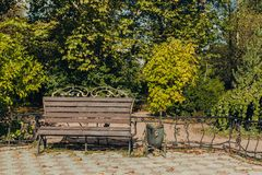 Promenade in a beautiful city park with a bench royalty free stock photos