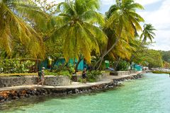 Promenade in Bequia, caribbean. Seafront in the island of Bequia, Grenadines Royalty Free Stock Image
