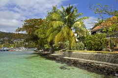 Promenade in Bequia, caribbean Royalty Free Stock Photos