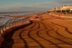 Promenade, Blackpool, England. The new promenade looking north from North Pier along the seafront at the resort of Blackpool, England royalty free stock image