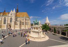 Promenade on Buda Hill at Budapest. Created by architect Schulek, Mathias Church is a good place to start your visit on Buda Hill and get beautiful views on City royalty free stock photo