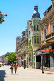 Promenade in Bulgaria. Rousse in Bulgaria is often compared to Vienna for its architecture. Large pedestrian streets for shopping Royalty Free Stock Images