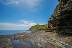 Promenade côtière de Yongmeori sur l'île de Jeju, Corée du Sud Formation géologique approximative faite avec l'érosion image stock
