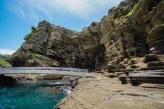 Promenade côtière de Yongmeori sur l'île de Jeju, Corée du Sud Formation géologique approximative faite avec l'érosion images stock