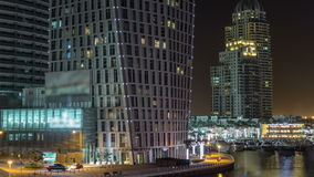 Promenade and canal in Dubai Marina timelapse at night, UAE. stock footage