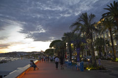 Promenade in Cannes at night Stock Photo