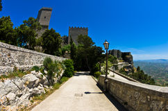 Promenade and castle of Venus at Erice, Sicily Stock Images