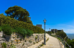 Promenade and castle of Venus at Erice, Sicily Royalty Free Stock Photos