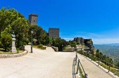 Promenade and castle of Venus at Erice, Sicily Stock Photo