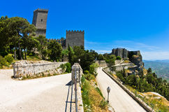 Promenade and castle of Venus at Erice, Sicily Royalty Free Stock Image