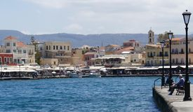 Promenade in Chania. Summer promenade in Chania on Crete. Quay on which feel like dancing Stock Photography
