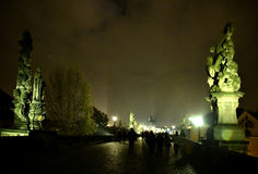 Promenade on the Charles Bridge. Every night, thousands of people go there Royalty Free Stock Photos