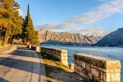 Promenade in the city of Perast in Montenegro. Promenade in the city of Perast, Montenegro Royalty Free Stock Photo