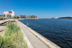 Promenade in the city port in Rostock Stock Photos