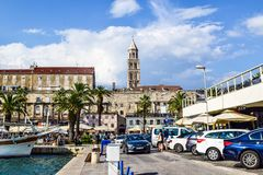 Promenade of the city of Split, Croatia. Split, Croatia - July 10, 2018: Tourists on the city promenade royalty free stock image