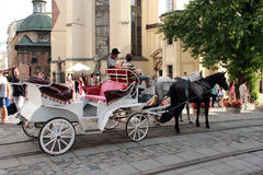 Promenade coach with two harnessed horses in Lvov Royalty Free Stock Photography