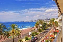 Promenade d Anglais (English promenade) in Nice, France. Balcony Royalty Free Stock Photography