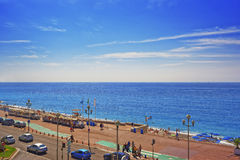 Promenade d Anglais (English promenade) in Nice, France. Bay vie Royalty Free Stock Images