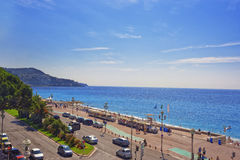Promenade d Anglais (English promenade) in Nice, France, view to Royalty Free Stock Image