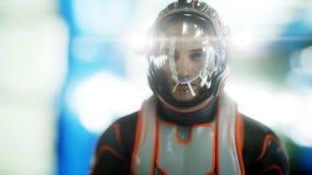 Promenade d'astronaute dans l'intérieur de la science fiction martien Concept de la science fiction rendu 3d Illustration Libre de Droits